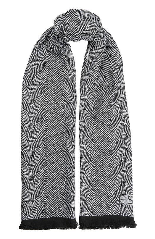 Шерстяной шарф с бахромой EscadaШарфы<br><br><br>Пол: Женский<br>Возраст: Взрослый<br>Размер производителя vendor: NS<br>Материал: Шерсть: 100%;<br>Цвет: Черно-белый