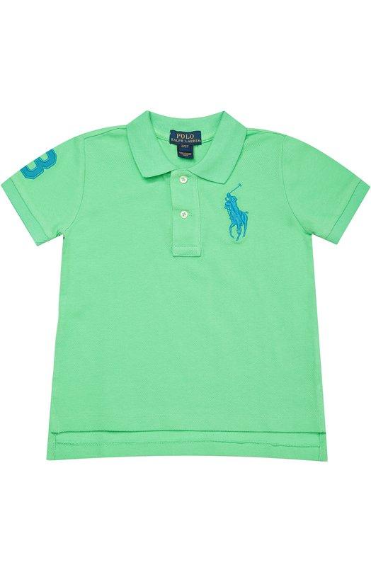 Хлопковое поло с короткими рукавами Polo Ralph LaurenПоло<br><br><br>Размер Months: 18<br>Пол: Мужской<br>Возраст: Детский<br>Размер производителя vendor: 86-92cm<br>Материал: Хлопок: 100%;<br>Цвет: Зеленый