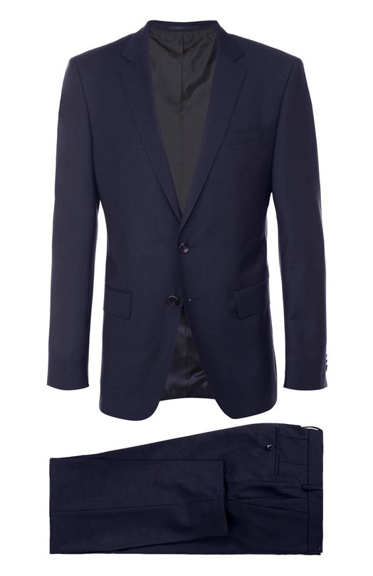 Шерстяной приталенный костюм BOSSКостюмы<br><br><br>Российский размер RU: 58<br>Пол: Мужской<br>Возраст: Взрослый<br>Размер производителя vendor: 58-R<br>Материал: Шерсть: 100%;<br>Цвет: Темно-синий