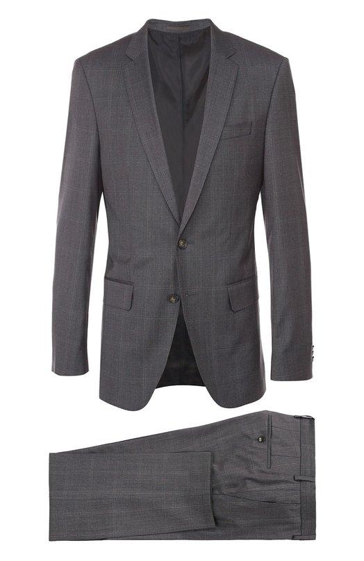 Шерстяной приталенный костюм в клетку BOSSКостюмы<br><br><br>Российский размер RU: 58<br>Пол: Мужской<br>Возраст: Взрослый<br>Размер производителя vendor: 58-R<br>Материал: Шерсть: 100%;<br>Цвет: Серый