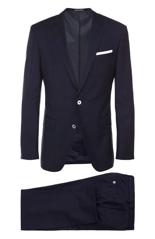 Шерстяной приталенный костюм в клетку BOSSКостюмы<br><br><br>Российский размер RU: 52<br>Пол: Мужской<br>Возраст: Взрослый<br>Размер производителя vendor: 52-R<br>Материал: Шерсть: 100%;<br>Цвет: Темно-синий