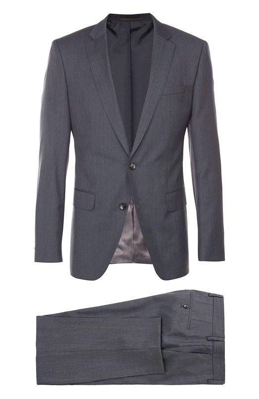 Шерстяной приталенный костюм в клетку BOSSКостюмы<br><br><br>Российский размер RU: 54<br>Пол: Мужской<br>Возраст: Взрослый<br>Размер производителя vendor: 54-C<br>Материал: Шерсть: 100%;<br>Цвет: Серый