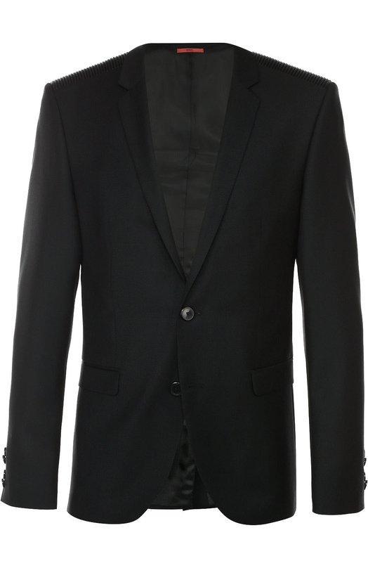Шерстяной приталенный пиджак HUGOПиджаки<br><br><br>Российский размер RU: 50<br>Пол: Мужской<br>Возраст: Взрослый<br>Размер производителя vendor: 48<br>Материал: Шерсть: 100%; Подкладка- вискоза: 100%;<br>Цвет: Черный