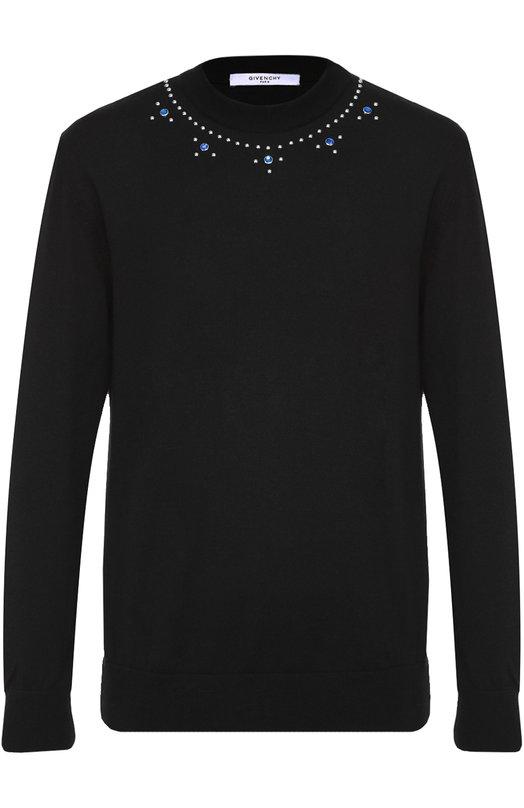 Шерстяной джемпер с декоративной отделкой заклепками Givenchy 16F/7621/537