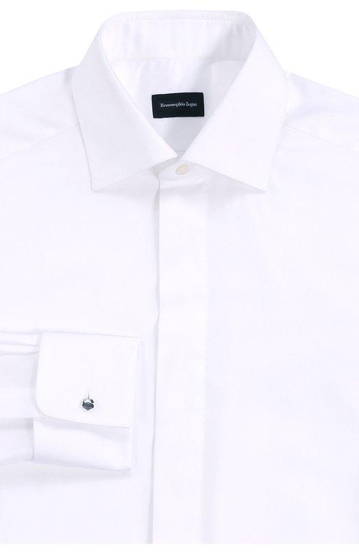 Купить Хлопковая сорочка с воротником акула Ermenegildo Zegna, 8019509MD0BR, Швейцария, Белый, Хлопок: 100%;