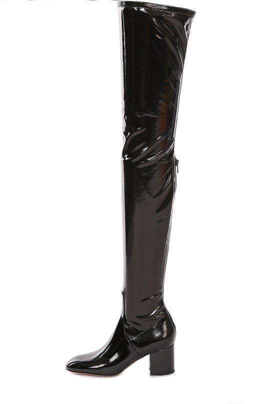 Купить Лаковые ботфорты Valentino Garavani Stretch на устойчивом каблуке Valentino, LW2S0A54/TLC, Италия, Черный, Полиэстер: 80%; Полиуретан: 20%; Кожа натуральная: 100%; Стелька-кожа: 100%; Подошва-кожа: 100%;