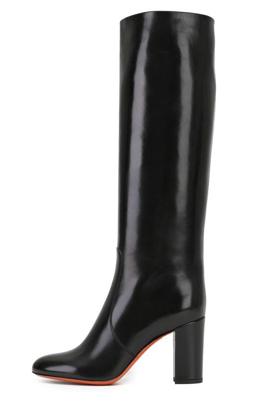 Кожаные сапоги на устойчивом каблуке SantoniСапоги<br>Черные сапоги вошли в осенне-зимнюю коллекцию марки, основанной супругами Сантони. Модель с зауженным мысом, на высоком устойчивом каблуке сшита из гладкой кожи, отполированной вручную до глянцевого блеска. Обувь застегивается на короткую молнию сбоку.<br><br>Российский размер RU: 41<br>Пол: Женский<br>Возраст: Взрослый<br>Размер производителя vendor: 41<br>Материал: Кожа натуральная: 100%; Стелька-кожа: 100%; Подошва-кожа: 100%; Подошва-резина: 100%;<br>Цвет: Черный