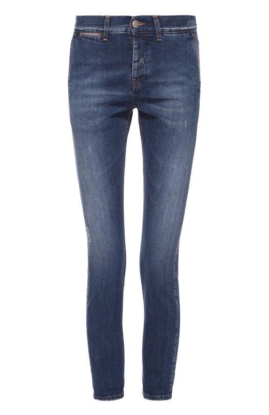 Укороченные джинсы-скинни с потертостями Two Women In The World M0180/MDNID