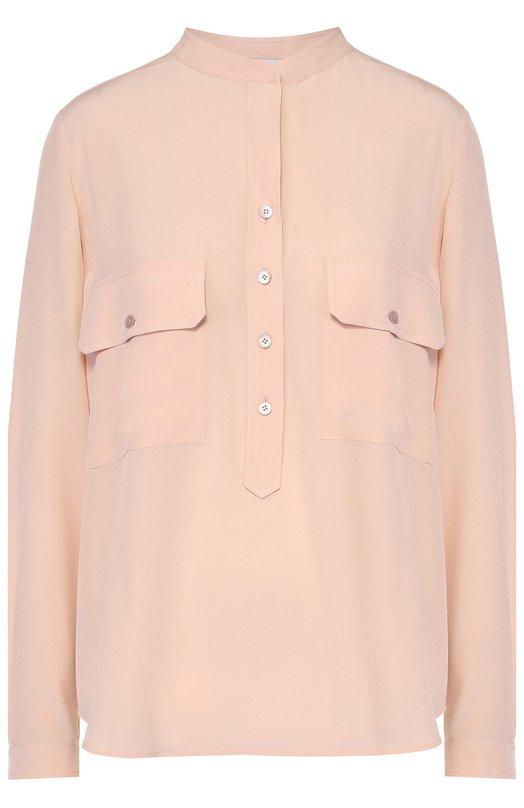 Шелковая блуза с накладными карманами и воротником-стойкой Stella McCartneyБлузы<br><br><br>Российский размер RU: 48<br>Пол: Женский<br>Возраст: Взрослый<br>Размер производителя vendor: 46<br>Материал: Шелк: 100%;<br>Цвет: Светло-розовый