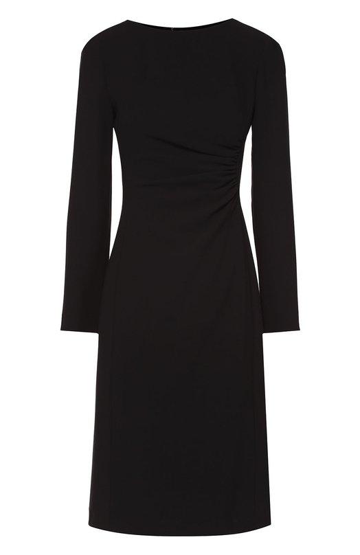 Облегающее платье с вырезом-лодочка и драпировкой Armani CollezioniПлатья<br><br><br>Российский размер RU: 44<br>Пол: Женский<br>Возраст: Взрослый<br>Размер производителя vendor: 42<br>Материал: Шерсть: 96%; Эластан: 4%; Подкладка-полиэстер: 100%;<br>Цвет: Черный