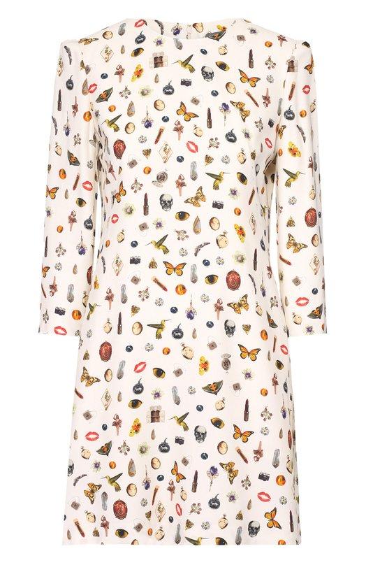 Мини-платье прямого кроя с контрастным принтом Alexander McQueenПлатья<br>Для пошива короткого белого платья из осенне-зимней коллекции 2016 года использован мягкий вискозный креп с разноцветным принтом Obsession. Сара Бертон создала этот мотив, вдохновившись находками коллекционеров, привезенных из путешествий. Модель с рукавами 7/8 застегивается сзади на потайную молнию.<br><br>Российский размер RU: 42<br>Пол: Женский<br>Возраст: Взрослый<br>Размер производителя vendor: 40<br>Материал: Вискоза: 100%; Подкладка-шелк: 100%;<br>Цвет: Белый