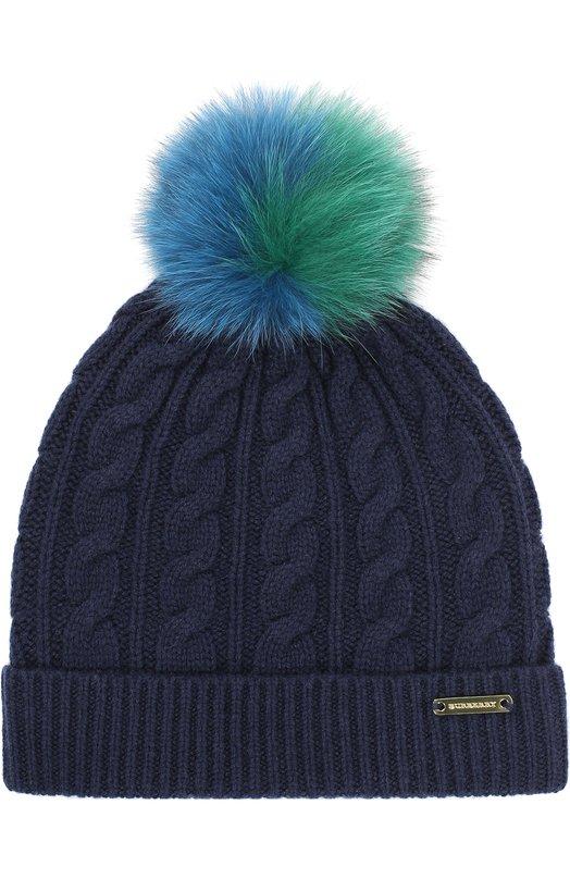 Вязаная шапка с помпоном из меха Burberry 4025577