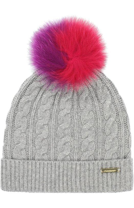 Вязаная шапка с помпоном из меха Burberry 4025579