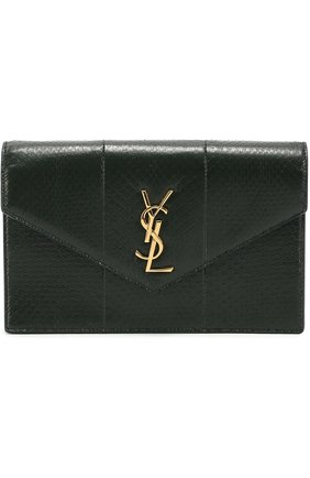 Сумка Monogram mini из кожи змеи Saint Laurent зелёного цвета | Фото №1