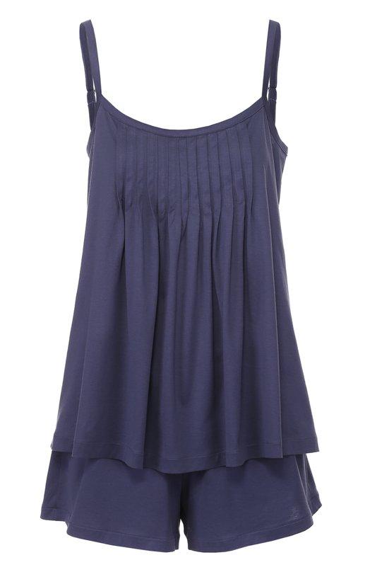 Хлопковый комплект из топа свободного кроя с мини-шортов HanroПижамы и сорочки<br><br><br>Российский размер RU: 48<br>Пол: Женский<br>Возраст: Взрослый<br>Размер производителя vendor: L<br>Материал: Хлопок: 100%;<br>Цвет: Темно-синий