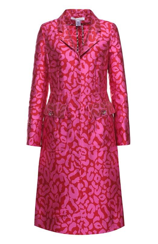 Приталенное пальто с накладными карманами и контрастным принтом Oscar de la Renta R17N826CUH