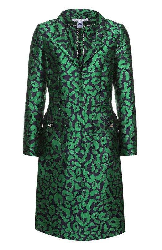 Приталенное пальто с накладными карманами и контрастным принтом Oscar de la Renta R17N826NC0