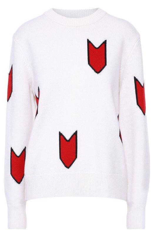 Шерстяной пуловер свободного кроя с контрастным принтом Rag&amp;BoneСвитеры<br><br><br>Российский размер RU: 44<br>Пол: Женский<br>Возраст: Взрослый<br>Размер производителя vendor: M<br>Материал: Шерсть: 100%;<br>Цвет: Белый