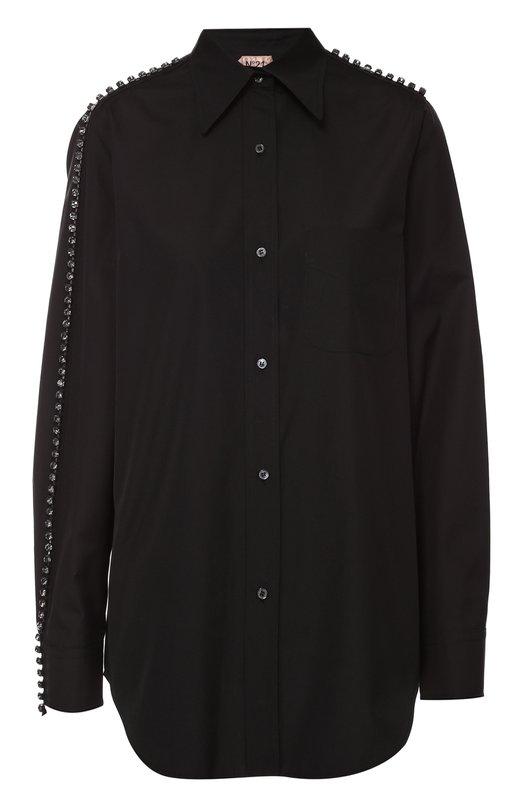 Хлопковая блуза прямого кроя с декоративной отделкой No. 21Блузы<br><br><br>Российский размер RU: 46<br>Пол: Женский<br>Возраст: Взрослый<br>Размер производителя vendor: 44<br>Материал: Хлопок: 100%;<br>Цвет: Черный