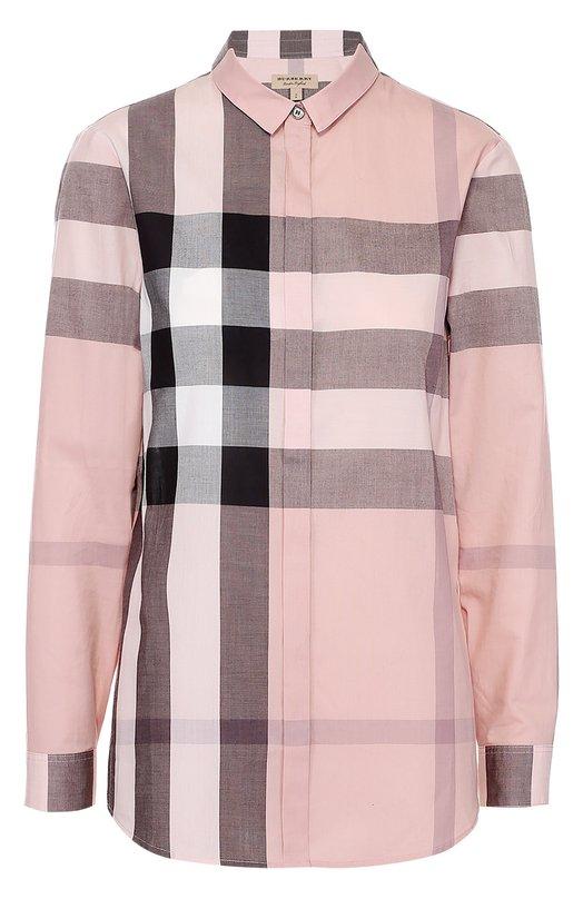 Купить Хлопковая блуза прямого кроя в клетку Burberry, 3999107, Таиланд, Светло-розовый, Хлопок: 100%;