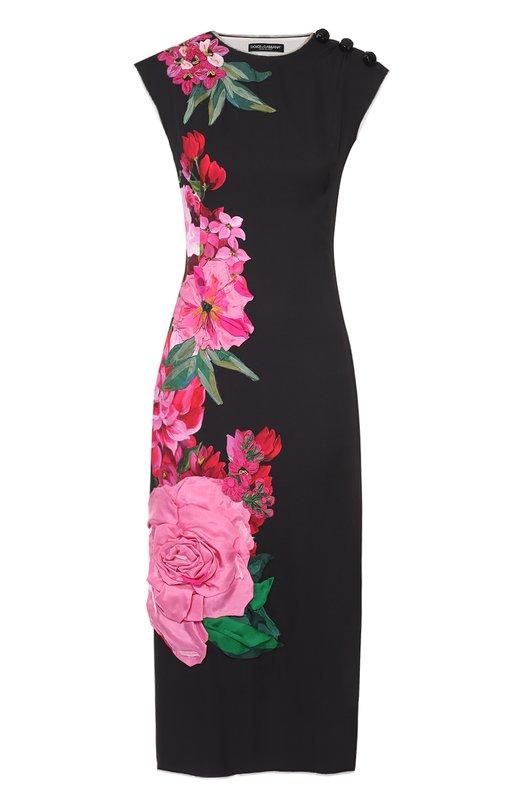 Купить Приталенное платье с цветочным принтом и фактурной отделкой Dolce & Gabbana Италия 5106966 0102/F62F8Z/FPAPR