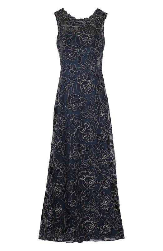 Кружевное приталенное платье в пол Tadashi ShojiПлатья<br><br><br>Российский размер RU: 46<br>Пол: Женский<br>Возраст: Взрослый<br>Размер производителя vendor: 8<br>Материал: Вискоза: 80%; Полиамид: 20%; Подкладка-полиэстер: 100%;<br>Цвет: Темно-синий