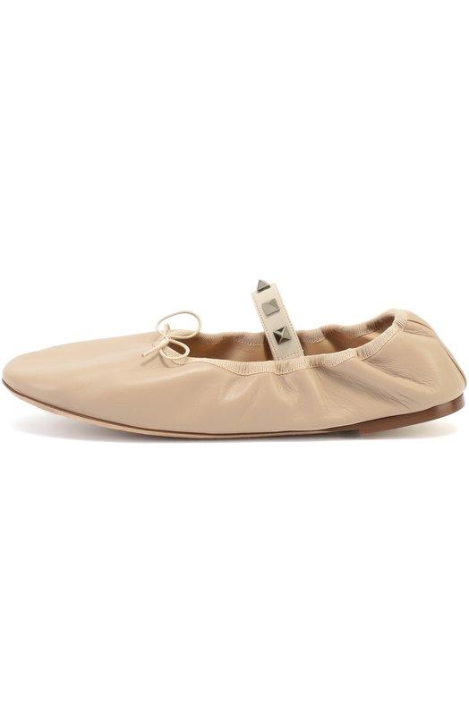 Кожаные балетки Rockstud Ballet с перемычкой Valentino LW0S0A93/GNS