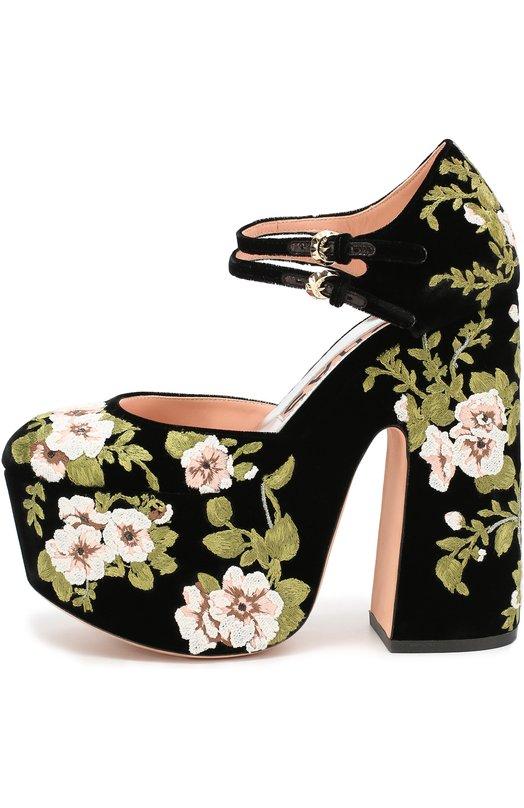 Туфли из текстиля с цветочной вышивкой Rochas R027141/VELVET EMBR0IDERY
