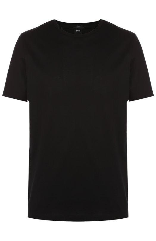 Хлопковая футболка с круглым вырезом BOSSФутболки<br><br><br>Российский размер RU: 46<br>Пол: Мужской<br>Возраст: Взрослый<br>Размер производителя vendor: S<br>Материал: Хлопок: 100%;<br>Цвет: Черный