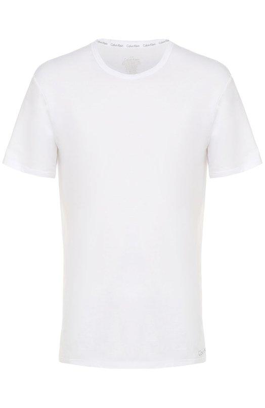 Хлопковая футболка с круглым вырезом Calvin KleinФутболки<br><br><br>Российский размер RU: 50<br>Пол: Мужской<br>Возраст: Взрослый<br>Размер производителя vendor: L<br>Материал: Хлопок: 92%; Эластан: 8%;<br>Цвет: Белый