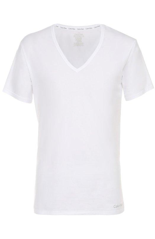 Хлопковая футболка с V-образным вырезом Calvin Klein 000NB1217A