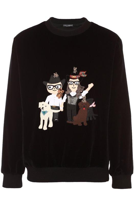 Бархатный свитшот с аппликацией DG Family Dolce & Gabbana 0101/G9GR5Z/G7IWJ