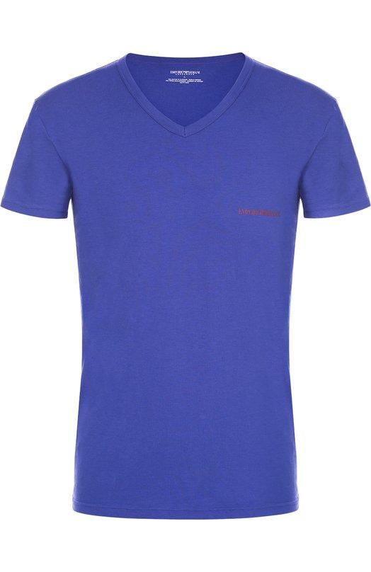 Хлопковая футболка с V-образным вырезом Emporio ArmaniФутболки<br><br><br>Российский размер RU: 52<br>Пол: Мужской<br>Возраст: Взрослый<br>Размер производителя vendor: XL<br>Материал: Хлопок: 95%; Эластан: 5%;<br>Цвет: Синий