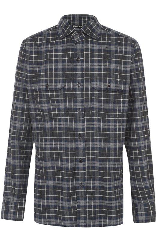 Хлопковая рубашка в клетку Tom FordРубашки<br><br><br>Российский размер RU: 41<br>Пол: Мужской<br>Возраст: Взрослый<br>Размер производителя vendor: 41<br>Материал: Хлопок: 100%;<br>Цвет: Темно-синий