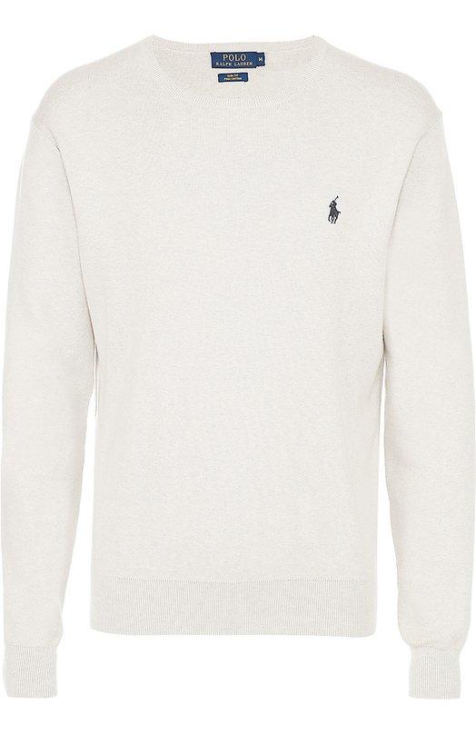 Хлопковый джемпер с логотипом бренда Polo Ralph LaurenСвитеры<br><br><br>Российский размер RU: 54<br>Пол: Мужской<br>Возраст: Взрослый<br>Размер производителя vendor: XXL<br>Материал: Хлопок: 100%;<br>Цвет: Серый