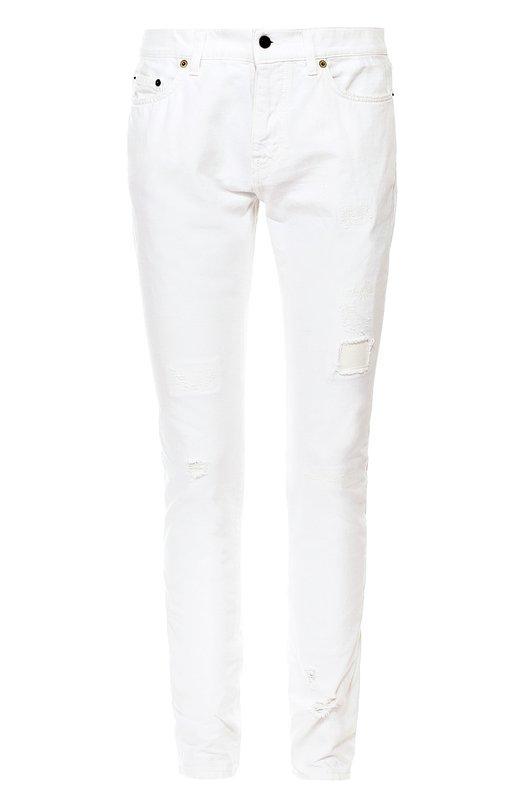 Зауженные джинсы с потертостями Saint Laurent