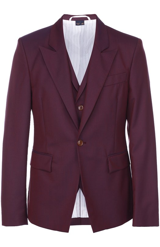 Шерстяной однобортный пиджак Vivienne WestwoodПиджаки<br><br><br>Российский размер RU: 48<br>Пол: Мужской<br>Возраст: Взрослый<br>Размер производителя vendor: 46<br>Материал: Шерсть: 100%; Подкладка-вискоза: 100%;<br>Цвет: Фиолетовый