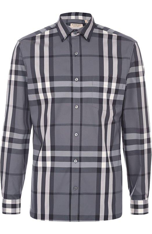 Хлопковая рубашка в клетку BurberryРубашки<br><br><br>Российский размер RU: 46<br>Пол: Мужской<br>Возраст: Взрослый<br>Размер производителя vendor: S<br>Материал: Хлопок: 100%;<br>Цвет: Темно-серый