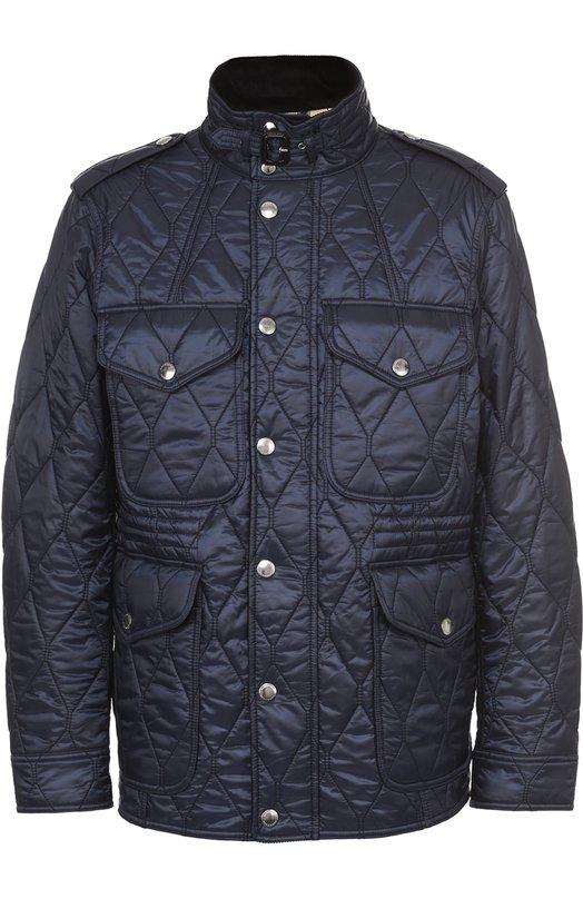 Утепленная стеганая куртка с воротником-стойкой BurberryКуртки<br><br><br>Российский размер RU: 56<br>Пол: Мужской<br>Возраст: Взрослый<br>Размер производителя vendor: XXXL<br>Материал: Подкладка-хлопок: 60%; Подкладка-полиэстер: 40%; Отделка кожа натуральная: 100%; Отделка-хлопок: 100%; Полиэстер: 100%;<br>Цвет: Темно-синий