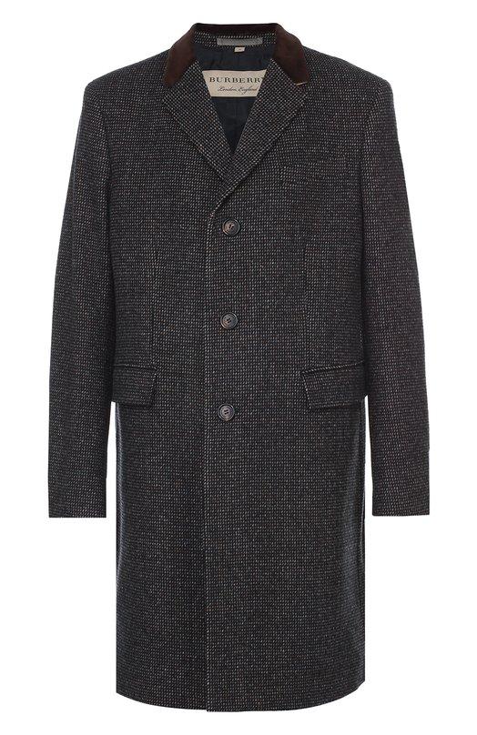 Шерстяное однобортное пальто Burberry 4034507