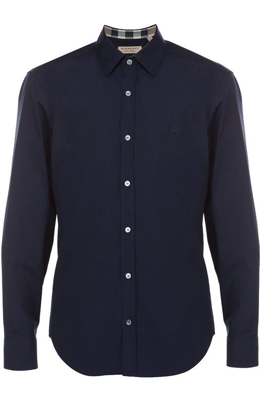 Купить Хлопковая рубашка с воротником кент Burberry, 3991157, Таиланд, Темно-синий, Хлопок: 97%; Эластан: 3%;