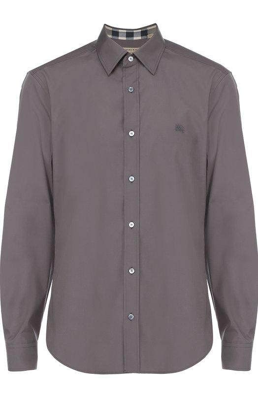 Хлопковая рубашка с воротником кент BurberryРубашки<br><br><br>Российский размер RU: 52<br>Пол: Мужской<br>Возраст: Взрослый<br>Размер производителя vendor: XL<br>Материал: Хлопок: 100%;<br>Цвет: Серый