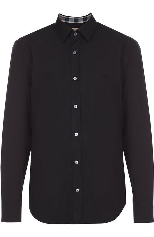 Хлопковая рубашка с воротником кент BurberryРубашки<br><br><br>Российский размер RU: 50<br>Пол: Мужской<br>Возраст: Взрослый<br>Размер производителя vendor: L<br>Материал: Хлопок: 97%; Эластан: 3%;<br>Цвет: Черный