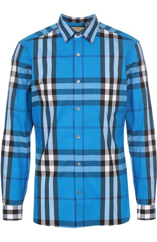 Рубашка из эластичного хлопка в клетку BurberryРубашки<br><br><br>Российский размер RU: 46<br>Пол: Мужской<br>Возраст: Взрослый<br>Размер производителя vendor: S<br>Материал: Хлопок: 66%; Эластан: 4%; Полиамид: 30%;<br>Цвет: Синий