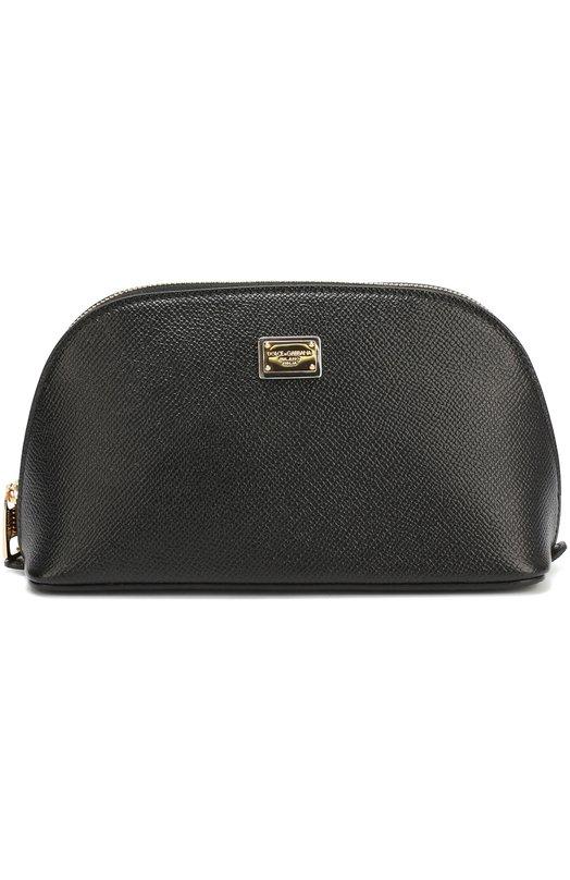 Кожаная косметичка на молнии Dolce &amp; GabbanaКосметички<br><br><br>Пол: Женский<br>Возраст: Взрослый<br>Размер производителя vendor: NS<br>Материал: Кожа натуральная: 100%;<br>Цвет: Черный