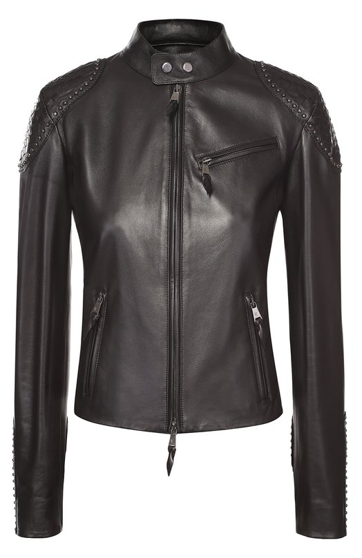 Укороченная кожаная куртка с декоративной отделкой Ralph LaurenЖакеты<br><br><br>Российский размер RU: 44<br>Пол: Женский<br>Возраст: Взрослый<br>Размер производителя vendor: 6<br>Материал: Кожа натуральная: 100%; Подкладка-купра: 100%;<br>Цвет: Черный