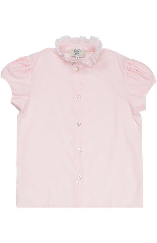Хлопковая блуза с кружевным воротником-стойкой Caf 26.SG-P0/6A-8A