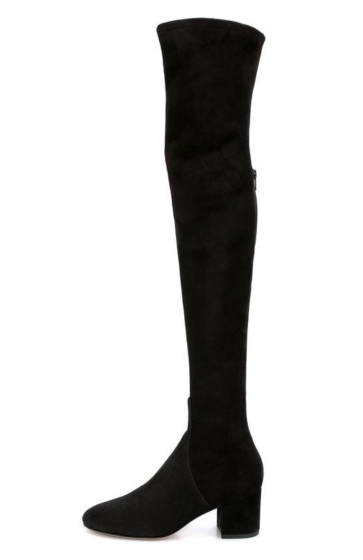 Замшевые ботфорты Stretch на устойчивом каблуке ValentinoСапоги<br>В осенне-зимнюю коллекцию марки, основанной Валентино Гаравани, вошли черные ботфорты-чулки на устойчивом низком каблуке. Сапоги с круглым мысом сшиты из ультрамягкой эластичной замши, поэтому изделие плотно облегает ногу. Союзка сшита из более плотной замши. Сзади на голенище — длинная молния.<br><br>Российский размер RU: 40<br>Пол: Женский<br>Возраст: Взрослый<br>Размер производителя vendor: 40<br>Материал: Стелька-кожа: 100%; Подошва-кожа: 100%; Замша натуральная: 100%;<br>Цвет: Черный