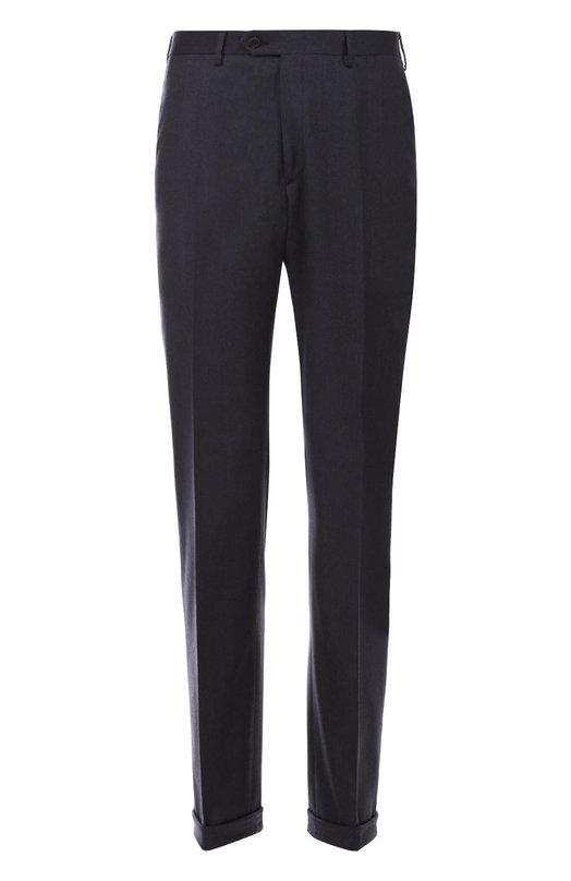 Классические шерстяные брюки с кожаной отделкой Brioni RPL5/05A0A/P0RT0VENERE