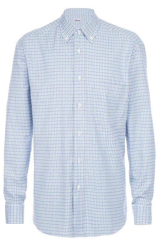 Купить Хлопковая рубашка с воротником button down Brioni, SC01/05046, Италия, Голубой, Хлопок: 100%;